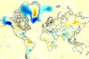Die Nasa Karte zeigt die Masseverluste (blau) und Massegewinne (gelb-rot). Foto: NASA